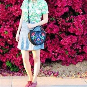 Floral Embroidered Heart Bag